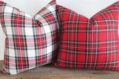 Pillow Cover Stewart Modern White Tartan by theCottageWorkroom