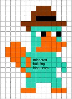 Minecraft Pixel Art Templates: Perry the Platypus