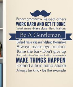 Another great find on #zulily! Navy 'Be A Gentleman' Decal by Wallquotes.com by Belvedere Designs #zulilyfinds