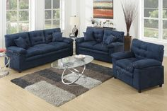Luxurious comfort awaits you with this plush sofa set in micro suede. It includes a loveseat, sofa, and chair with deep plush seating that features a pillow top seat and accent tufting and pillows. Available in ash, chocolate, blue or dark brown. Blue Sofa Set, Couch Set, 3 Piece Living Room Set, Living Room Sets, Microfiber Sofa, Sofa Inspiration, Contemporary Sofa, Sectional Sofa, Sofas