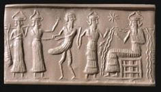 Cylinder seal showing Sumerian god Enki seated on a throne, wearing a horned headdress with a flowing stream full of fish; 2250 BCE (BM 103317). © The British Museum