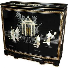 Make your living room look classy and elegant using this Oriental Furniture Black Lacquer Landscape Altar Cabinet. Lacquer Furniture, Black Furniture, Fine Furniture, Furniture Decor, Design Furniture, Oriental Furniture, Chinese Furniture, Wooden Cabinets, Grey And Beige