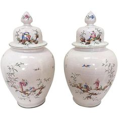 White Chinoiserie Urns - A Pair ($3,600) ❤ liked on Polyvore featuring home, home decor, ginger jars, white home decor, lidded jars, white jar, white home accessories and white urn vase