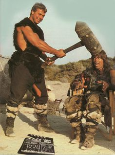 Conan the Barbarian Directed by John Milius. Sven-Ole Thorsen as Thorgrim and Arnold Schwarzenegger as Conan have some on set hijinks by glazyuk Famous Movies, Iconic Movies, Classic Movies, Great Movies, Blockbuster Movies, Conan The Barbarian 1982, Barbarian Movie, Barbarian King, Films Cinema