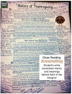 Thanksgiving Passage Close Reading Freebie: History of Thanksgiving!