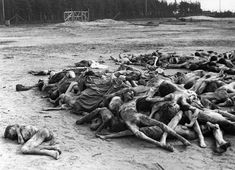 A pile of bodies left to rot in the Bergen-Belsen concentration camp, found after the camp was liberated by British forces (April 20, 1945). Some 60,000 civilians, most suffering from typhus, typhoid and dysentery, were dying by the hundreds daily, despite the frantic efforts by medical services rushed to the camp.