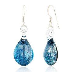Sterling Silver Hand Blown Venetian Murano Glass Earrings Blue and Silver Drop Shaped Fashion Fashion Jewelry for Women,Teens,Girls: Jewelry: Amazon.com