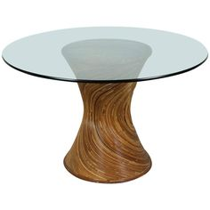 Rattan and Glass Oval Dining Table in the Style of Gabriella Crespi 1
