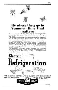 1938. Manchester Corporation Electricity Department advert