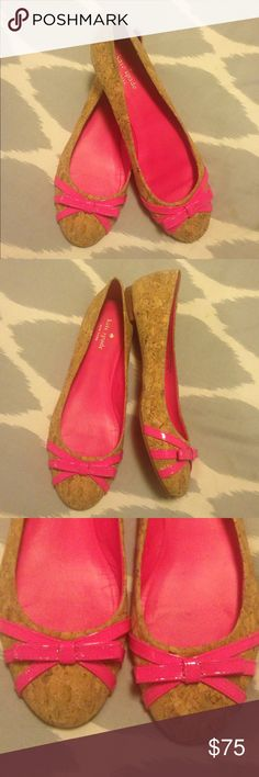 Kate Spade Cork & Patent Bow Flats Kate Spade cork flats with neon pink patent bow detail. Very cute and comfortable. Slightly narrow for my heel, so that's why I'm selling them. Only wore about 3 times, great condition. True to size. No box! kate spade Shoes Flats & Loafers