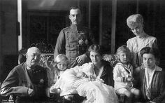Christening photo of Princess Frederika of Brunswick. VL, EA, and children are in the middle. The elderly couple are EA's parents Prince Ernst Augustus II and Princess Thyra of Brunswick/Hanover. The lady on the right is Princess Olga of Hanover, EA's sister.