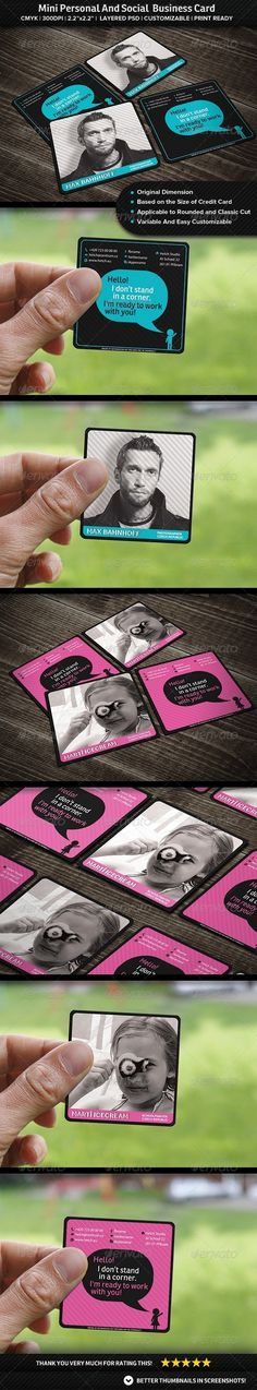 Personal And Social Mini Business Card - Business Cards Print Templates