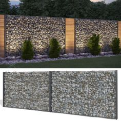 Gabione stone basket privacy anthracite stone fence Gabion fence fence in Ga . - Gabione stone basket privacy screen anthracite stone fence Gabion fence fence in garden & te - Gabion Stone, Gabion Fence, Gabion Wall, Stone Fence, Brick Fence, Concrete Fence, Front Yard Fence, Farm Fence, Backyard Fences