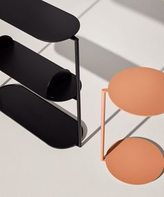 Hawu shelving unit and Gito side table by Diiis