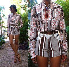 Vintage Printed Shirt, Vintage High Waist Striped Shorts, Vintage Wooden Platforms