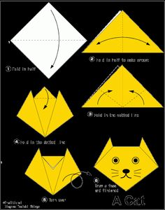 Easy Origami For Kids.: Cat(face) links to other easy origami as well