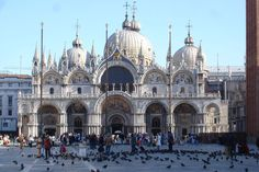 Saint Mark's Basilica in Venice.  I will have to get over my fear of birds to see this one! favorit place, squares, mark basilica, church, venice italy, places, art history, san marco, itali