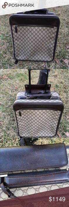 """Gucci GG Supreme Small Rolling Carry on Luggage Gucci Beige GG Supreme small rolling luggage Trolley. Condition excellent  few scratches on leather no rips or tears n canvas. size 22"""" by 15"""" Gucci Bags Travel Bags"""