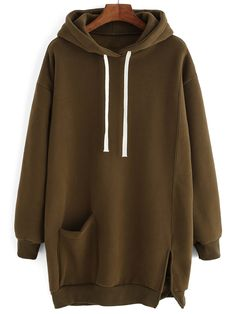 Hoooded Drawstring Split Sweatshirt Dress With Pocket