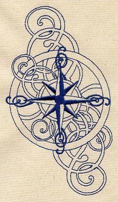 Nautical - swirly compass rose (Needs to be a tatoo! Rose Tattoos, New Tattoos, Tatoos, Color Tattoos, Mandala Art, Blackwork, Kunst Tattoos, Desenho Tattoo, Future Tattoos