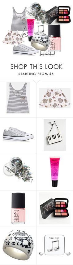 """""""#PVxPusheen back to school music 101"""" by alisafranklin on Polyvore featuring Pusheen, Converse, Betsey Johnson, NYX, NARS Cosmetics, Chanel, Happy Plugs, contestentry and PVxPusheen"""