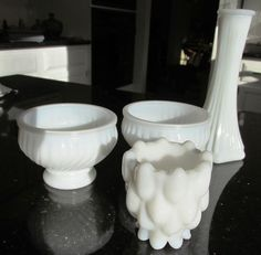 Milk Glass - 4 Pieces - Bud Vase, 3 Votives #MilkGlass
