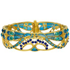 Art Nouveau Bracelet. Opal and Lapis Lazuli set in Gold !  Such a lovely design.