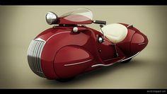 Red 1930 Henderson KJ Streamline