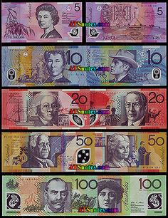 Australia: money, our money is very colourful and it is not paper! (It's plastic - AND has a clear 'window').