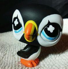 Littlest Pet Shop #654 penguin LPS arctic winter puffin fancy snowflake eye Bird #Hasbro