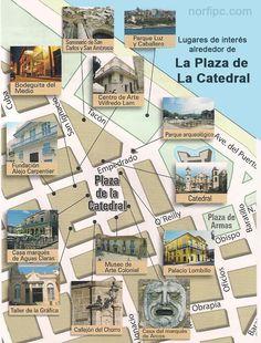 Mapa de La Plaza de la Catedral en la Habana Vieja con todos los lugares de interés a su alrededor