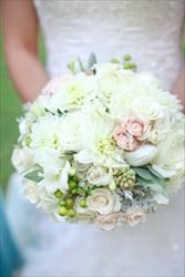 my white wedding bouquet with touches of pink and green