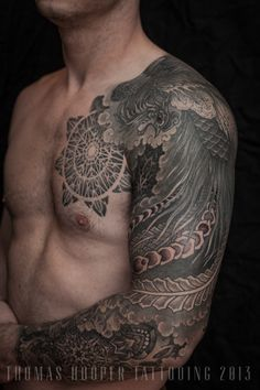 Thomas Hooper Tattooing Pheonix and Mandala Full Sleeve _3