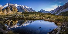 Mirrored Mt Cook (New Zealand) by Travis Daldy on New Zealand, Mount Everest, Explore, Mountains, Mirror, Cooking, Nature, Photography, Travel