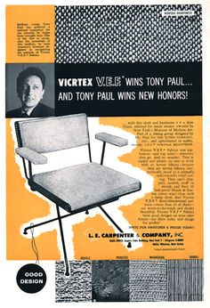 F Vins Tony Paul. and Tony Paul Vins New Honors!E Carpenter & Company Inc. Magazine Page or Ad. Folder/Brochure for a seat design by 'Tony Paul Designs', - Typically Graphic, Graphic Design Unknown. Ski Vintage, Max Huber, Retro Design, Graphic Design, Francis Wolff, Paul Design, Pratt Institute, New York Museums