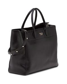 Prada City Calfskin Tote Bag with Studded Strap, Black (Nero)
