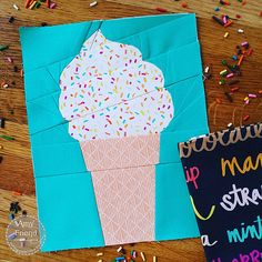 I designed this pattern for a Soft Serve Ice Cream Cone a couple of years ago. When I first caught a glimpse of the Sprinkles print from Dana Willard's Art Gallery Fabrics collection called … Paper Piecing Patterns, Quilt Patterns, Block Patterns, Card Patterns, Applique Patterns, Fabric Postcards, Summer Quilts, Foundation Paper Piecing, Baby Quilts