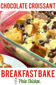 Oct 2018 - Chocolate Croissant Breakfast Bake - buttery croissants, cream cheese, sugar, eggs, milk and chocolate. Can assemble and refrigerate overnight. This is incredibly delicious! Can eat for breakfast or dessert. Perfect for Christmas morning! Breakfast Desayunos, Breakfast Items, Breakfast Dishes, Breakfast Recipes, Comfort Breakfast Bake, Office Breakfast Ideas, Brunch Recipes, Fast Breakfast Ideas, Cucina