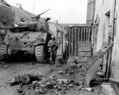 An M4A3 76w from the 778th Tank Battalion caption Lampaden 1945. The has an M1A1 gun with a threaded and protected barrel. With all the hatches open, it looks like most of the crew may have made it out.