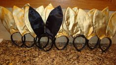 Fun idea for a creative dress up for a bachelorette party!!! The bride wears the black ears and a gold dress & everyone else wears the gold ears and black dresses! Was such a big hit at my best friends bachelorette party!!! :)
