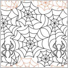 Spiderweb with Spider Pantograph © 2013 Jessica Schick Quilting Stencils, Quilting Templates, Longarm Quilting, Free Motion Quilting, Hand Quilting, Quilting Ideas, Quilting Stitch Patterns, Machine Quilting Patterns, Quilt Stitching