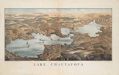Map of Lake Chautauqua New York NY 1885 by RetroPrintmaker