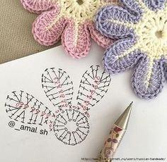 Knitting patterns for simple flowers and stars