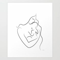 Mother with baby drawing. Minimalist line art print. Art Print by Siret - X-Small Outline Drawings, Doodle Drawings, Art Drawings Sketches, Small Drawings, Mom Drawing, Painting & Drawing, Minimalist Drawing, Minimalist Art, Baby Sketch