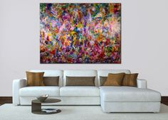 Beautiful painting with many layers and rich textured blended together in an array of colors and shapes. This very bold color blending plus iridescent mediums create a piece filled with dimensions,...