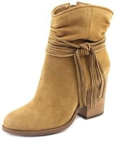 Jessica Simpson Sesley Women Round Toe Suede Brown Ankle Boot.