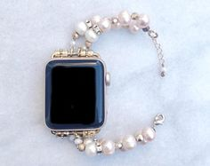 Apple Watch Band, Pearls and Gold Apple Watch Band, 38mm 42mm, Apple Watch Bracelet, Designer Apple Watch Band, Apple Watch Strap, iWatch