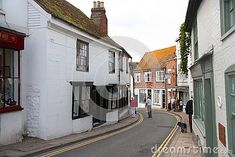 A narrow street passing through the town of Rye in East Sussex, England.