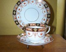 Vintage Royal Albert Crown China DEVON Trio Cup ,saucer, plate, Imari, Swags, Roses, lustre glaze