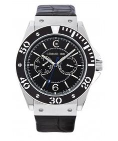 CERRUTI 1881 Black Leather Strap Cerruti 1881 Black, Black Leather, Watches, Wristwatches, Clocks